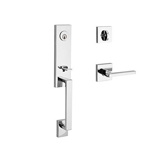 An image of Baldwin 9BR1800-037 Brass Polished Chrome Lever Lockset Door Lock