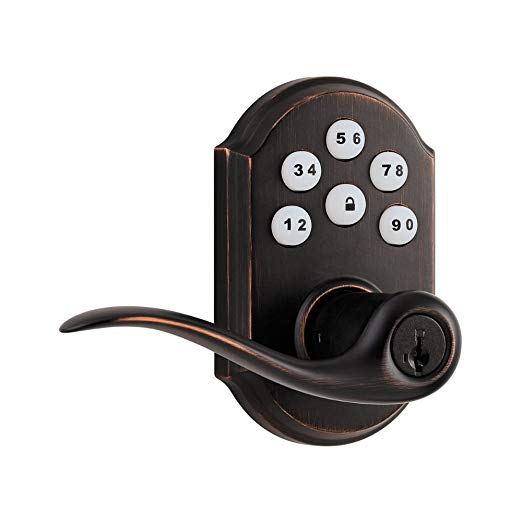 An image of Kwikset 99110-003 Entry Venetian Bronze Lever Lockset Lock