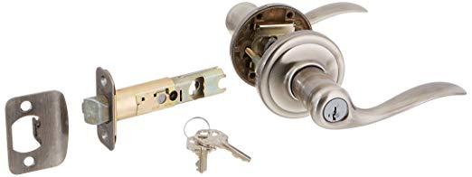 An image of Kwikset 740TNL-15AS Entry Nickel Lever Lockset Lock | Door Lock Guide