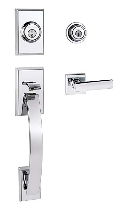 An image related to Kwikset 98010-214 Bathroom Polished Chrome Lever Lockset Lock