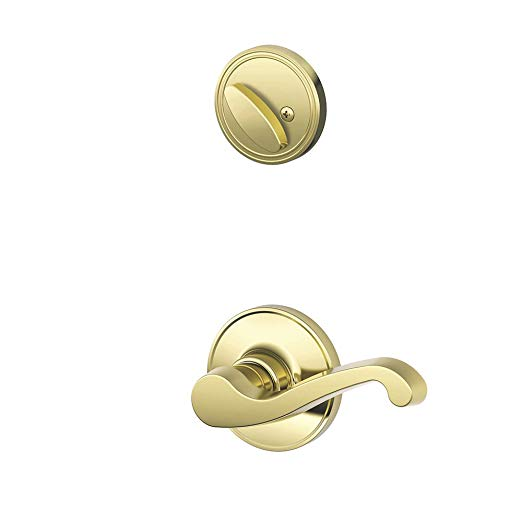 An image of Schlage JH59 LAS LH 605 Entry Polished Brass Lever Lockset Lock