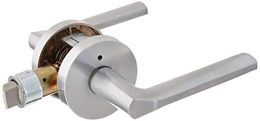 An image of Kwikset 155LSLRDT-26D Privacy Satin Chrome Lever Lockset Lock