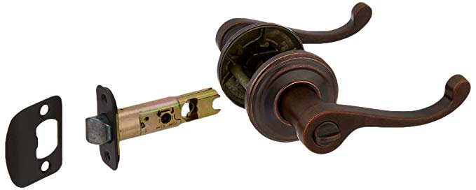 An image related to Kwikset 4693470 Bathroom Privacy Rustic Bronze Lever Lockset Lock