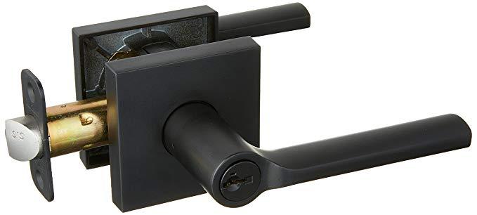 An image of Kwikset 156LSLSQT-514S Entry Iron Black Lever Lockset Lock