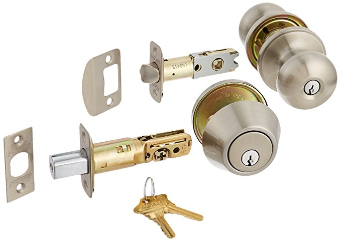 An image of Schlage JC60V STR Entry Satin Nickel Lever Lockset Lock