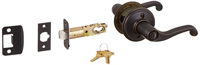 An image of Schlage F51AFLA716 Entry Aged Bronze Lever Lockset Lock