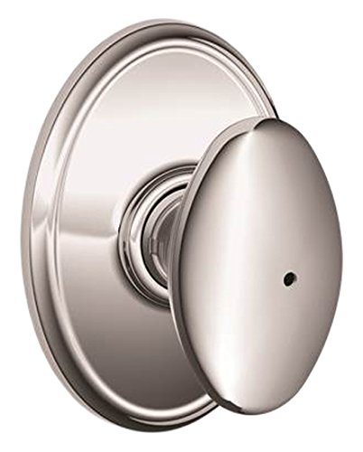 An image of Schlage F40SIE625WKF Bathroom Privacy Polished Chrome Lever Lockset Lock