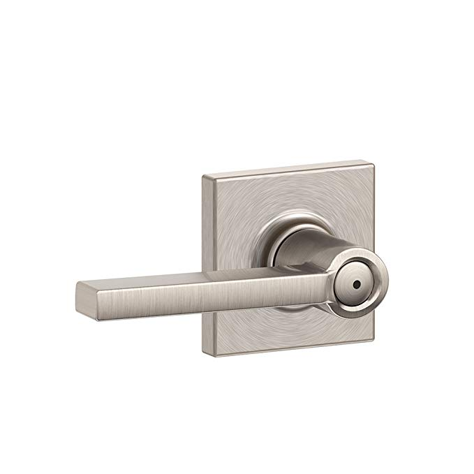 An image related to Schlage F40 LAT 619 COL Bathroom Satin Nickel Lever Lockset Lock