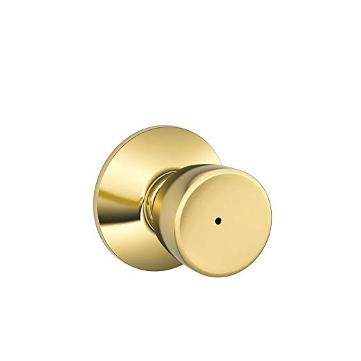An image of Schlage F40BEL605 Bathroom Privacy Brass Lock | Door Lock Guide