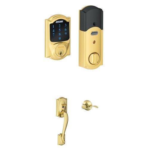 An image of Schlage FBE469NX ACC 619 CAM Brass Touchscreen Door Lever Lockset Lock | Door Lock Guide