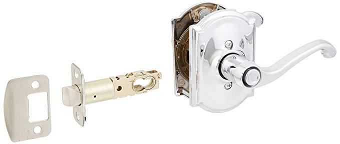 An image related to Schlage F40FLA625CAM Bathroom Privacy Polished Chrome Lever Lockset Lock