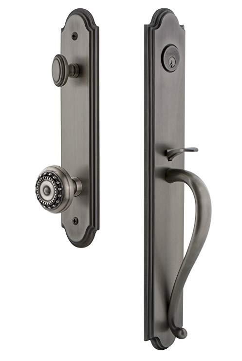 An image of Grandeur 844203 Pewter Lever Lockset Lock | Door Lock Guide