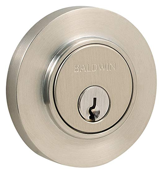 An image of Baldwin 8244150 Satin Nickel Lock