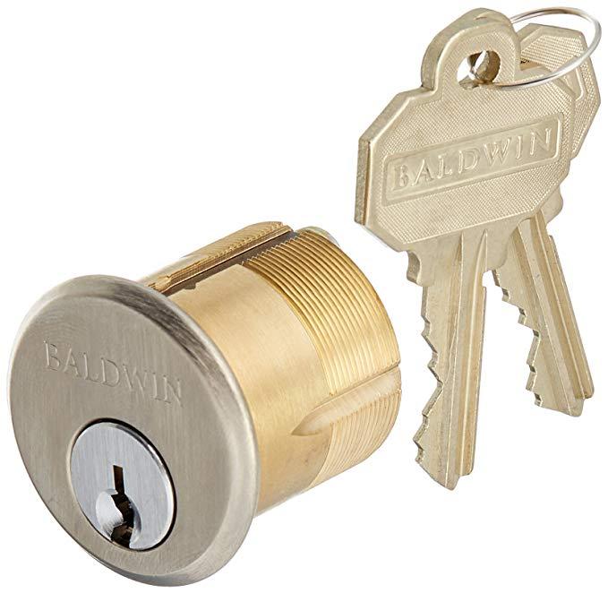 An image of Baldwin 8323056 Satin Nickel Lock | Door Lock Guide