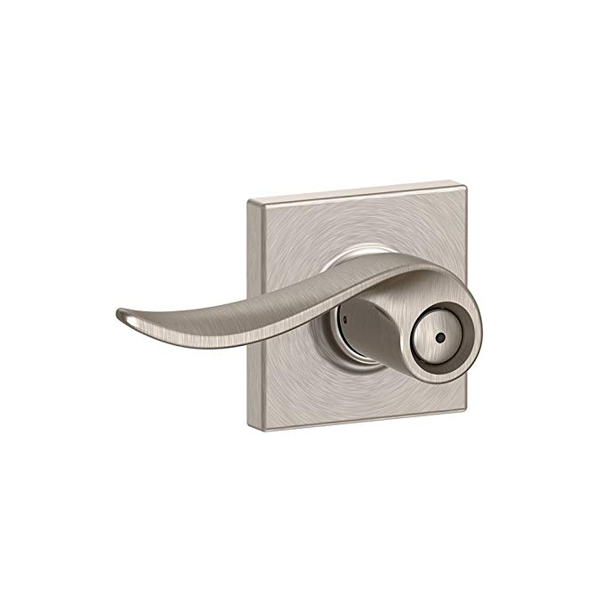 An image related to Schlage F40 SAC 619 COL Bathroom Satin Nickel Lever Lockset Lock