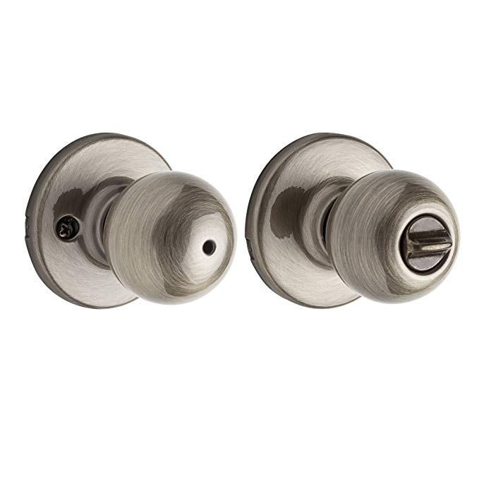 An image of Kwikset 93001-360 Bathroom Privacy Brass Lever Lockset Lock