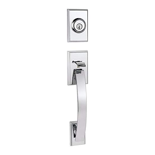 An image related to Kwikset 98001-371 Bathroom Polished Chrome Lever Lockset Door Lock