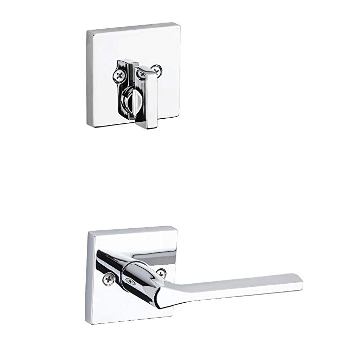An image of Kwikset 99710-006 Bathroom Polished Chrome Lever Lockset Lock