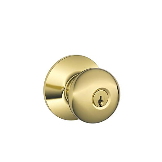 An image of Schlage F51A PLY 505 605 Entry Brass Lock | Door Lock Guide