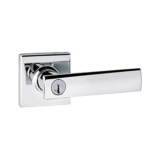 An image of Kwikset 97402-691 Bathroom Entry Polished Chrome Lever Lockset Door Lock