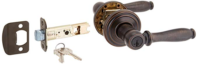 An image related to Kwikset 97402-580 Entry Venetian Bronze Lever Lockset Lock