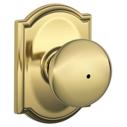An image of Schlage F40PLY605CAM Bathroom Privacy Polished Brass Lever Lockset Lock
