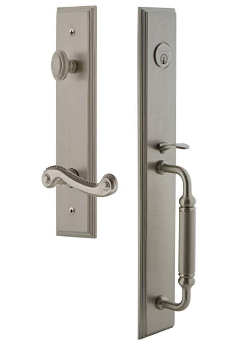 An image of Grandeur 843106 Satin Nickel Lever Lockset Door Lock