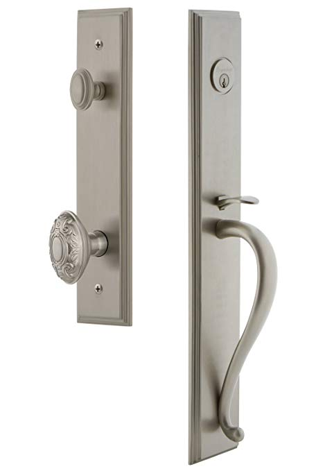 An image related to Grandeur 845183 Brass Satin Nickel Lever Lockset Lock
