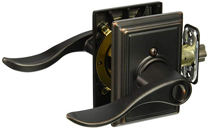 An image of Schlage F51AACC716ADD Entry Aged Bronze Lever Lockset Lock