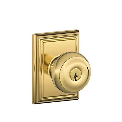 An image of Schlage F51A GEO 605 ADD Entry Brass Lock | Door Lock Guide
