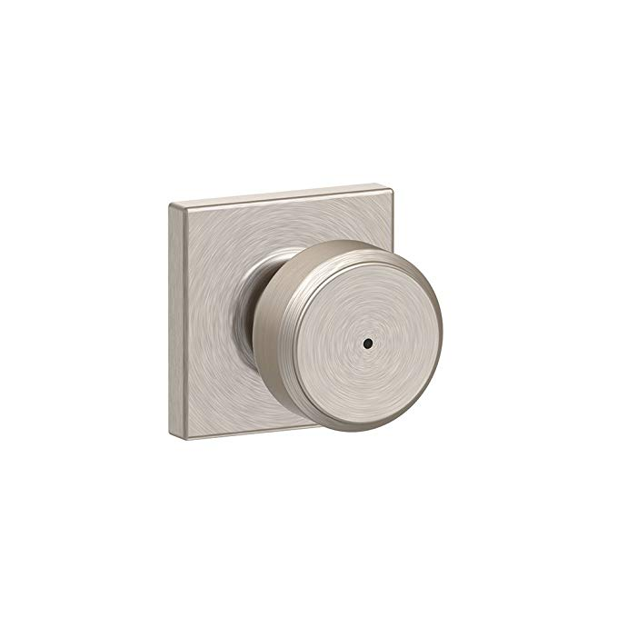 An image of Schlage F40 BWE 619 COL Bathroom Satin Nickel Lock | Door Lock Guide