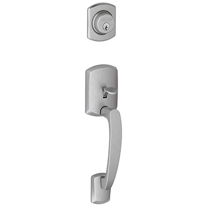 An image related to Schlage F58 GRW Satin Chrome Lever Lockset Lock