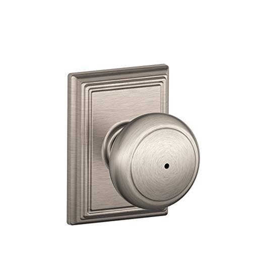 An image of Schlage F40 AND House Privacy Satin Nickel Lever Lockset Lock