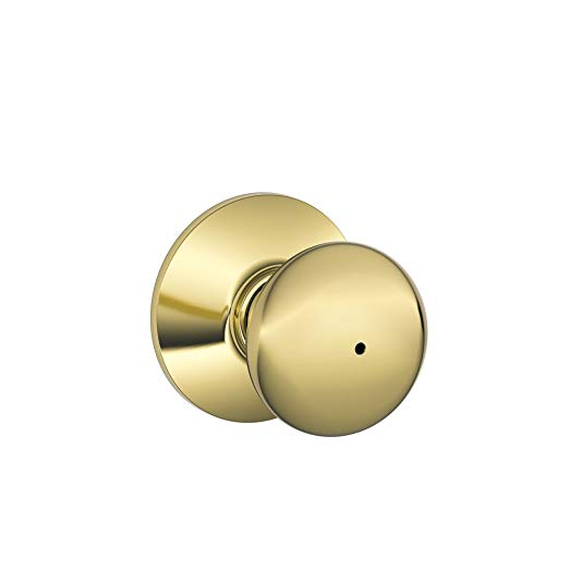 An image of Schlage F40VPLY605 Bathroom Privacy Brass Lock