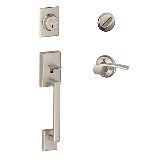 An image of Schlage F60 CEN 619 MER LH Satin Nickel Lever Lockset Lock
