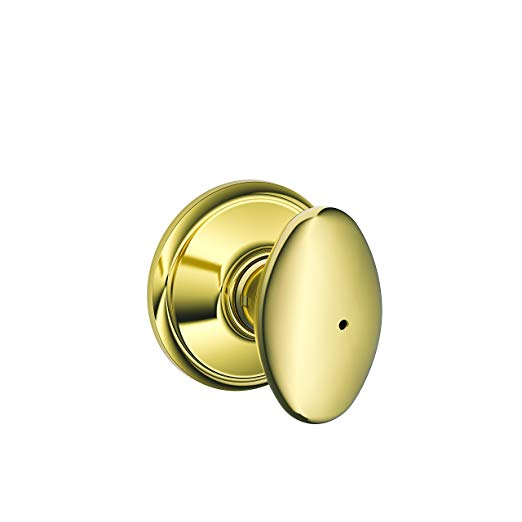 An image of Schlage F40SIE605625 Bathroom Privacy Polished Brass Lock | Door Lock Guide
