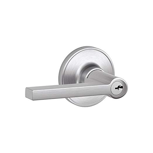 An image of Schlage J54SOL626 Entry Satin Chrome Lever Lockset Lock