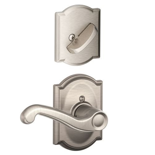 An image of Schlage F59FLA619CAMRH Satin Nickel Lever Lockset Lock