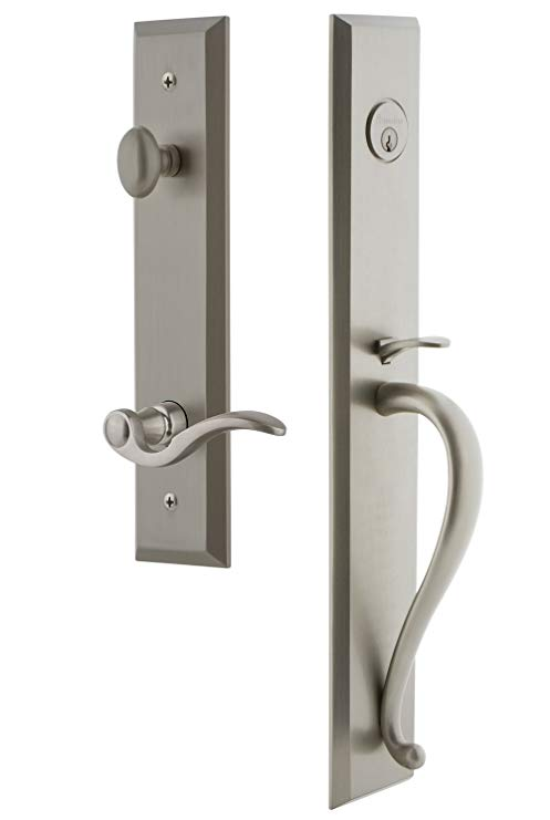 An image of Grandeur 847653 Satin Nickel Lever Lockset Lock | Door Lock Guide
