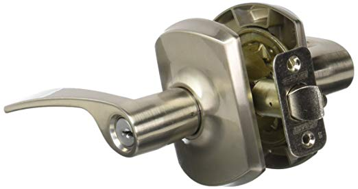 An image of Schlage F51AMER619GRW Entry Satin Nickel Lever Lockset Lock