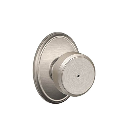 An image of Schlage F40 BWE 619 WKF House Privacy Satin Nickel Lever Lockset Lock