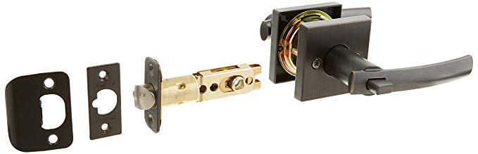 An image of Kwikset 156SYLSQT-11PS Entry Venetian Bronze Lever Lockset Lock