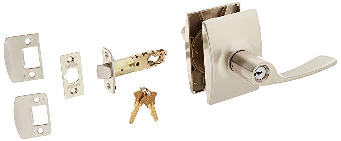 An image of Schlage F51AMER619CEN Entry Satin Nickel Lock | Door Lock Guide