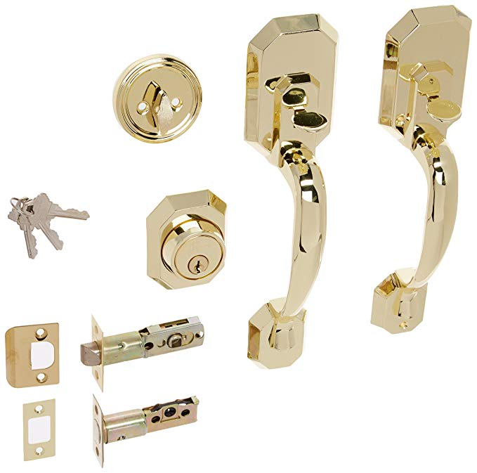 An image related to Constructor CON-CER-PB Entry Polished Brass Lever Lockset Lock