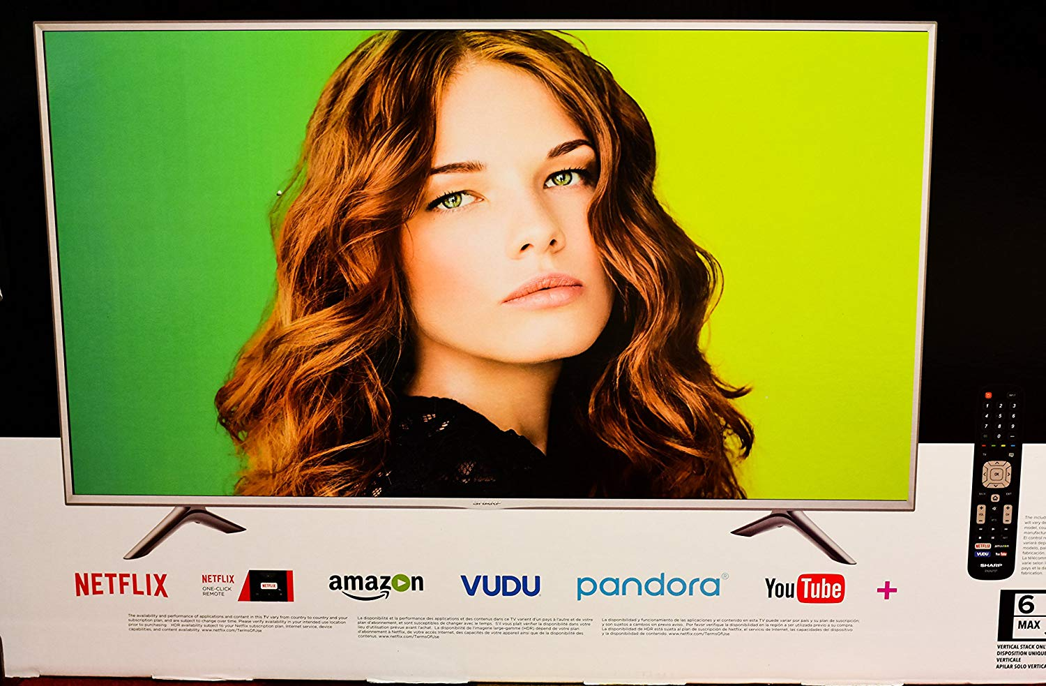 An image of Sharp LC-55P6000U 55-Inch HDR 4K LED 120Hz TV with Motion Rate 120