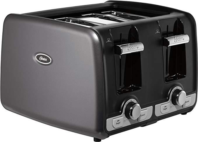 An image of Oster TSSTTRWA4G 4-Slice Black 7-Mode Wide Slot Toaster
