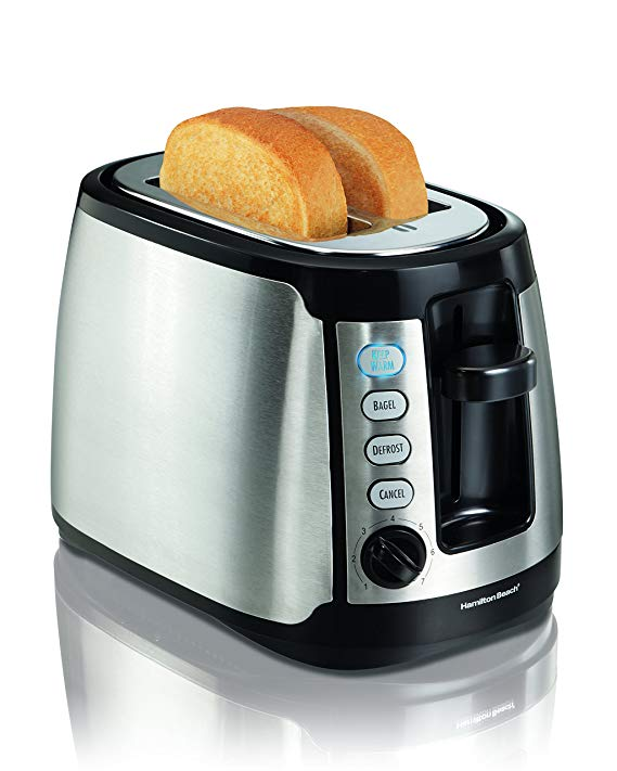 An image of Hamilton Beach 22811 2-Slice Black and Silver Cool Touch Long Slot Toaster