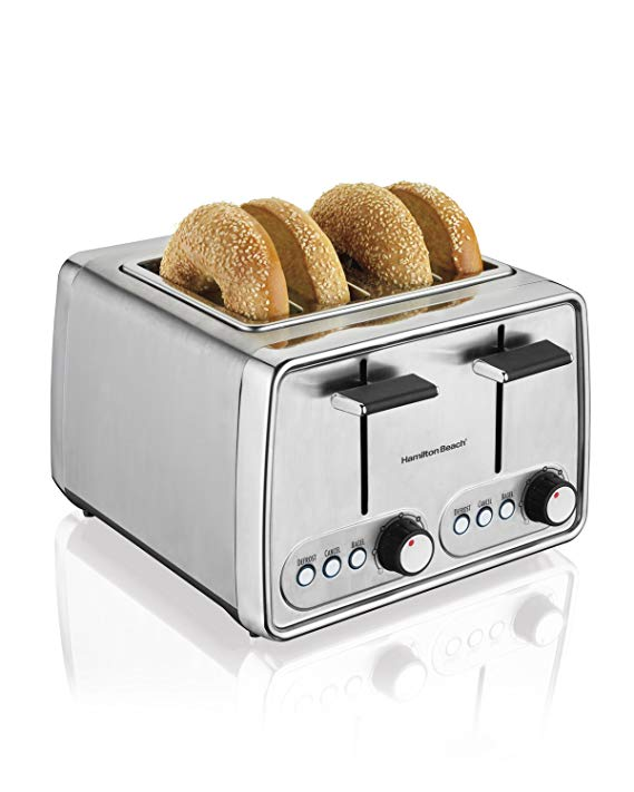 An image of Hamilton Beach 4-Slice Modern Chrome Cool Touch Wide Slot Toaster