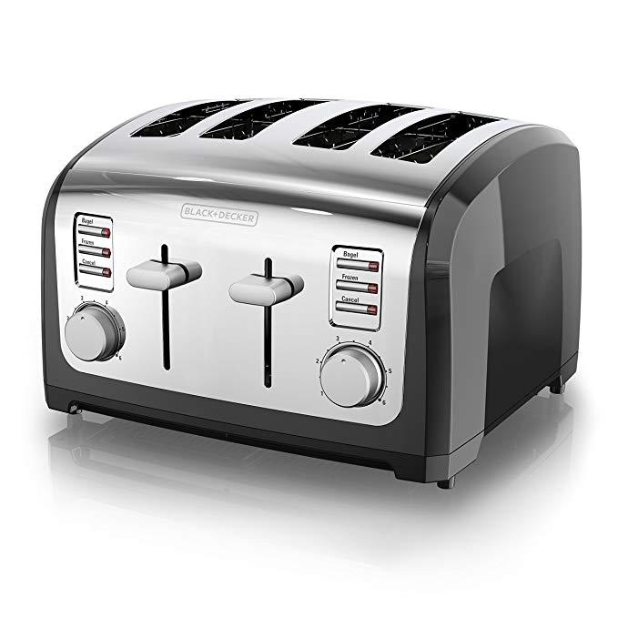 An image of BLACK+DECKER 120V Stainless Steel 4-Slice Black 6-Mode Wide Slot Toaster