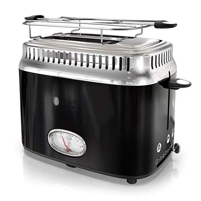 An image of Russell Hobbs 850W Stainless Steel 2-Slice Classic Black 6-Mode Cool Touch Wide Slot Toaster